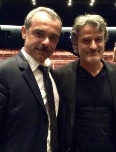 Renato De Maria, e a sinistra l'attore Andrea Di Casa, fotografati in sala Darsena dopo la proiezione