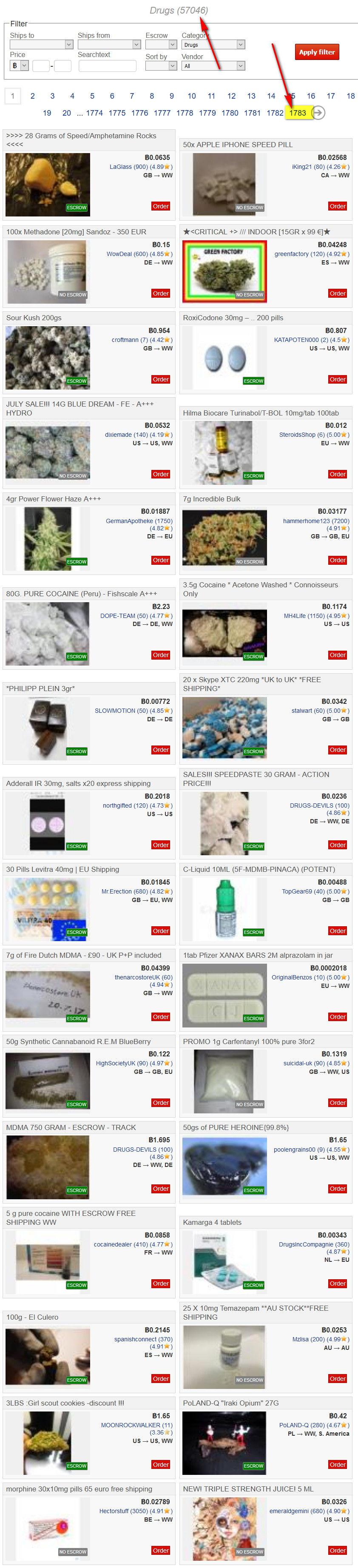 un market illegale di vendita droga online