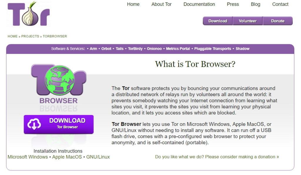 tor il browser per navigare il Dark Web
